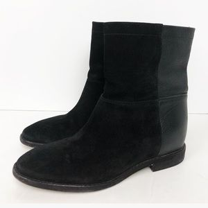 Vince Grayson Leather & Suede Black Ankle Boots